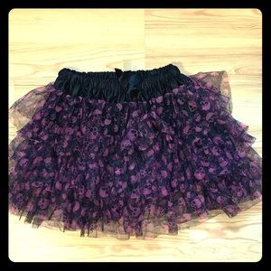 Hot topic black with pink skulls skirt / tutu